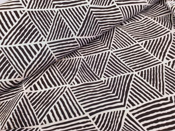 Canvas - Stoff bedruckt - Dekostoff - Dreiecke schwarz/weiß- 150 cm breit - 220g/m²