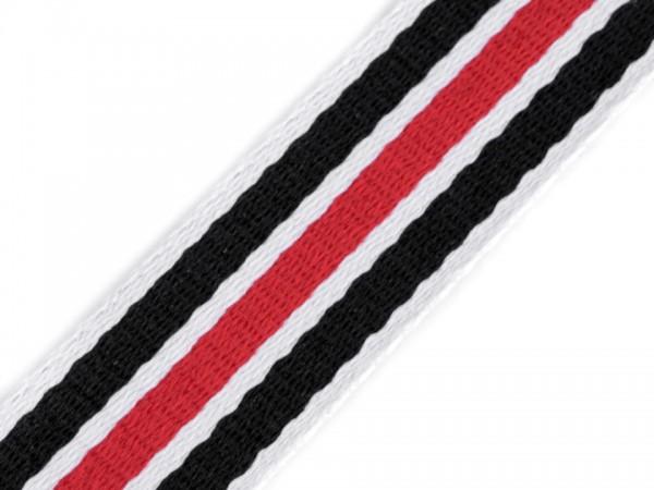 Gurtband Streifen - schwarz/rot/weiß - 38 mm
