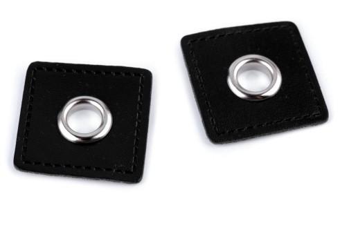 Kunstleder Patches mit Öse 30x30 mm - schwarz (2 Stück)