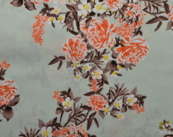 """Baumwoll-Popeline """"Flowers"""" - mint/lachsrosa"""
