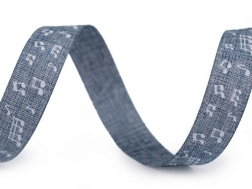"Textilband ""Noten"" - jeansblau - 15mm"