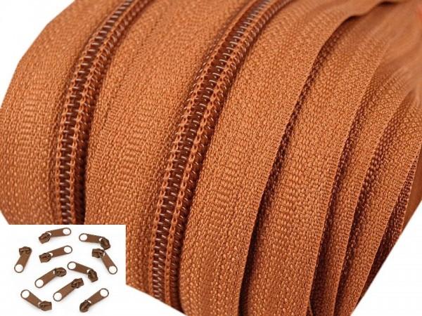 Endlos-Reissverschluss 5mm - braun- inkl. 4 Zipper/Meter