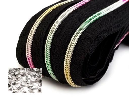 Endlos-Reissverschluss 5mm - regenbogenfarben- inkl. 4 Zipper/Meter