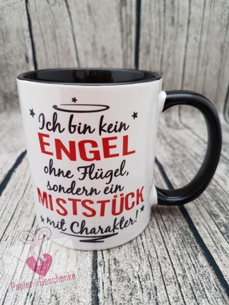"""Kaffeetasse """"Ich bin kein Engel...."""" - schwarz/rot"""