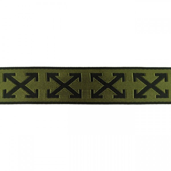 Glanz-Gurtband - 40 mm - Kreuz- schwarz/olivgrün