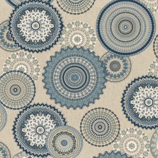 """Canvas Leinenlook - """"Mandala"""" - blau/beige"""