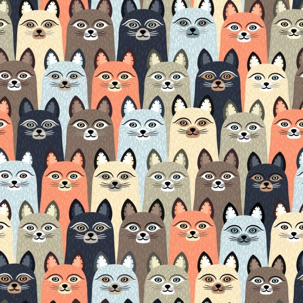 "Baumwoll-Webware ""Cats"" - bunt"