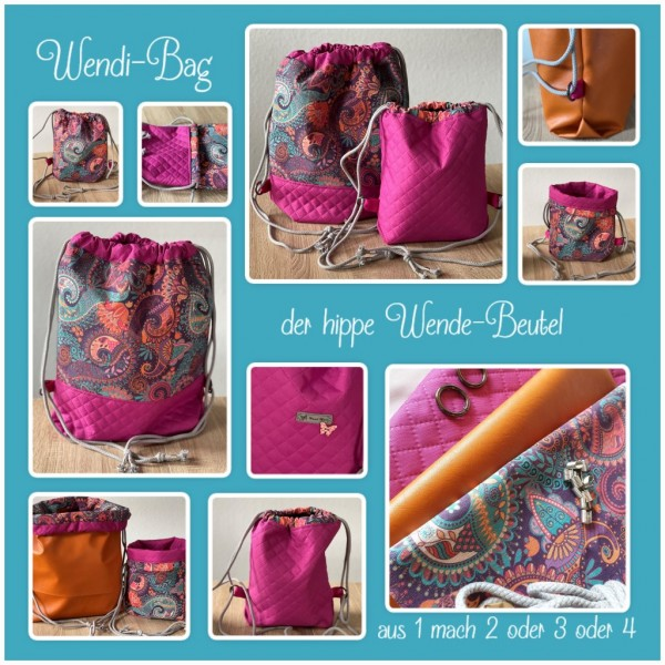"Nähset ""WENDI-Bag"" - Paisley - alle 3 Größen in einem Set - inkl. E-Book"