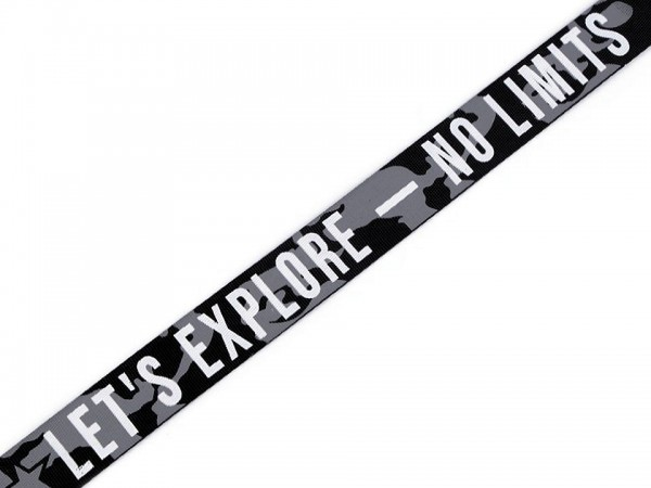"Ripsband ""Explore - no Limits"" - grau camouflage - 25 mm"