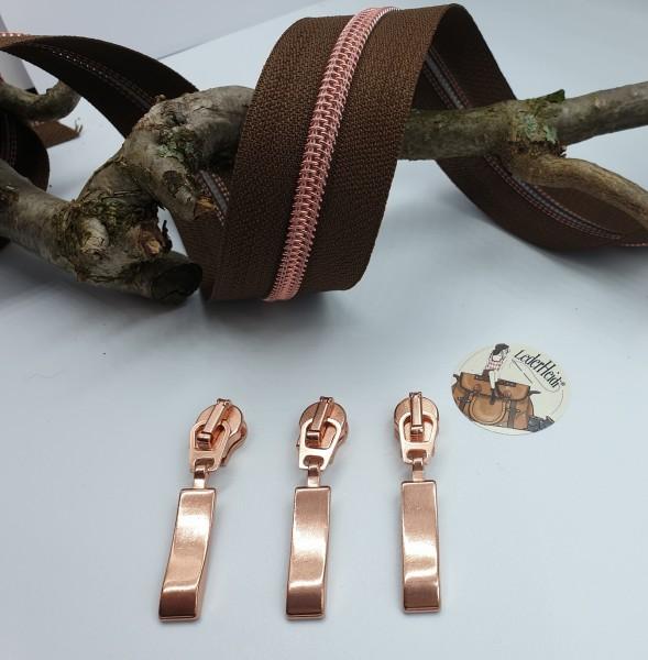 Metallisierter Reissverschluss 6,5 mm - braun/kupfer rosè inkl. 3 hochwertiger Schieber/Meter