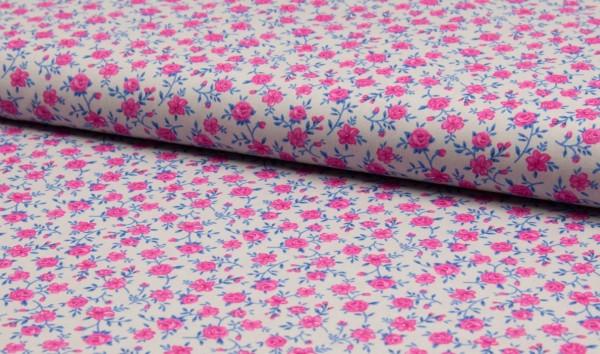 Baumwoll Popeline Blümchen rosa/blau