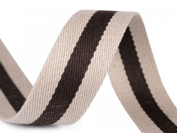 Gurtband 38 mm - Streifen braun/beige