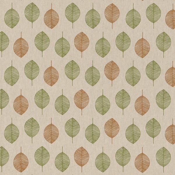 "Dekostoff Leinenoptik ""Blätter"" - grün/braun"