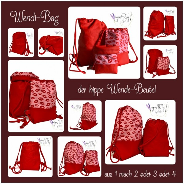 """Nähset """"WENDI-Bag"""" - LOVE - alle 3 Größen in einem Set - inkl. E-Book"""