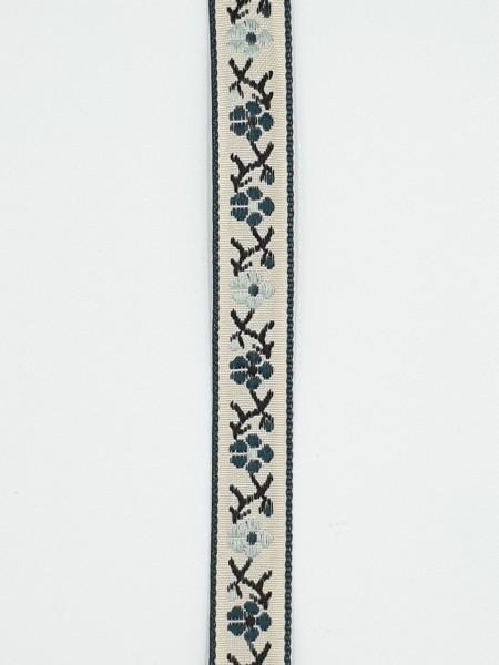 """Webband """"Blumen"""" - dunkelgrün/beige/braun - 15 mm"""