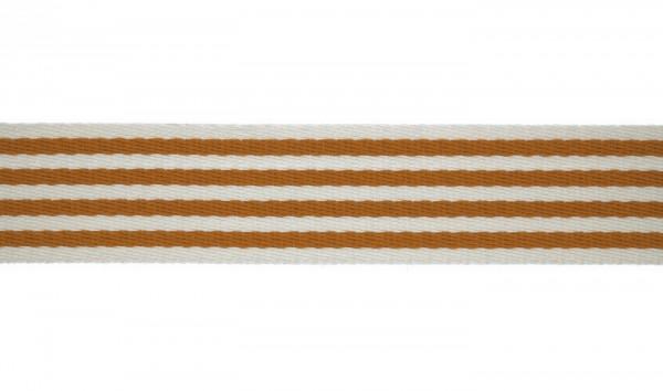Baumwoll-Gurtband 40mm - schmale Streifen -weiss/inkagold