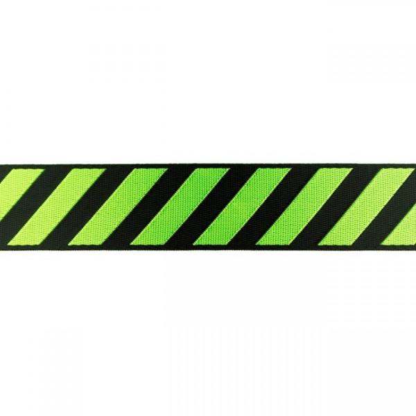 Glanz-Gurtband - 40 mm - Streifen - schwarz/lime