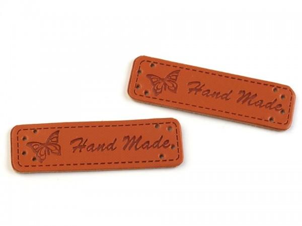 """Label aus Kunstleder """"Hand Made"""" - braun - 15x50 mm (5 Stück)"""