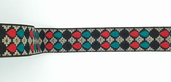 Jacquardband Tropfen - 25mm - schwarz/grün/rot