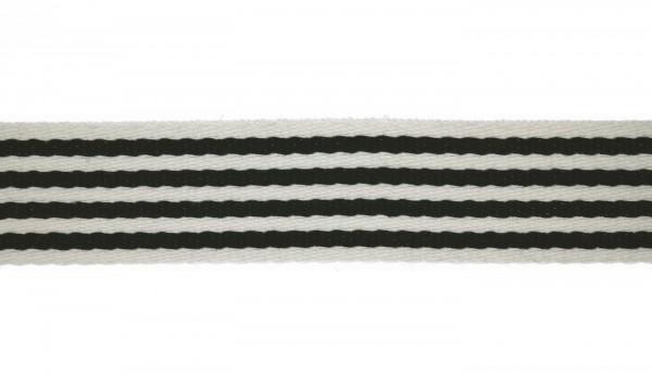 Baumwoll-Gurtband 40mm - schmale Streifen -weiss/schwarz