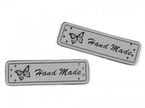"Label aus Kunstleder ""Hand Made"" - grau- 15x50 mm (5 Stück)"