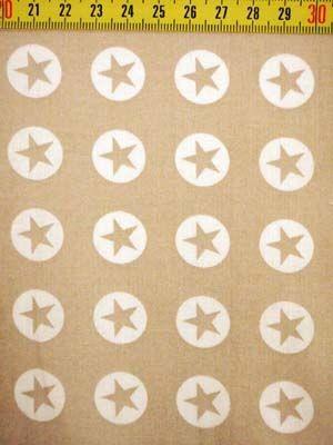 "1 Meter Baumwollwebware ""Sterne im Kreis"" - beige - Abschnitt"