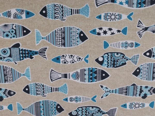 """Dekostoff in Leinenoptik """"Fishes"""" - blau/natur"""