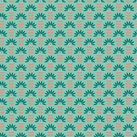 "Baumwoll-Popeline ""Graphic Flower"" - mint"