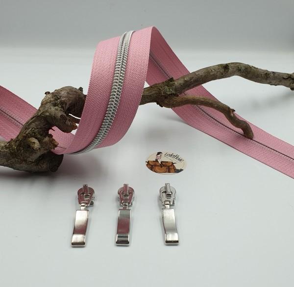 Metallisierter Reissverschluss 6,5 mm - rosa/silber - inkl. 3 hochwertiger Schieber/Meter