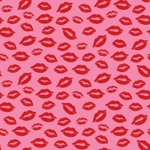 "Baumwoll-Popeline ""Kisses for you"" - pnk/rot"