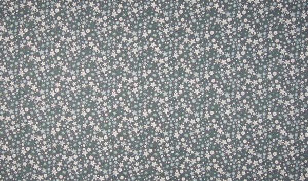 Baumwoll-Popeline Blümchen grau/weiß/petrol