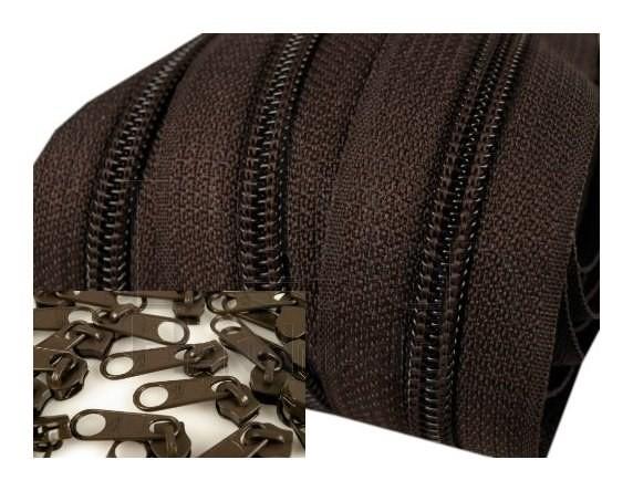 Endlos-Reissverschluss 5mm - dunkelbraun - inkl. 4 Zipper/Meter
