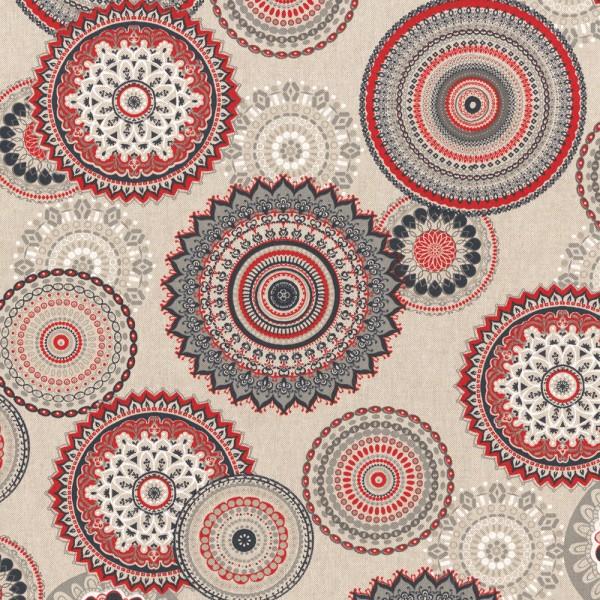 "Canvas Leinenlook - ""Mandala"" - rot/schwarz/grau"