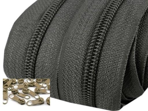 Endlos-Reissverschluss 5mm - dunkelgrau- inkl. 4 Zipper/Meter