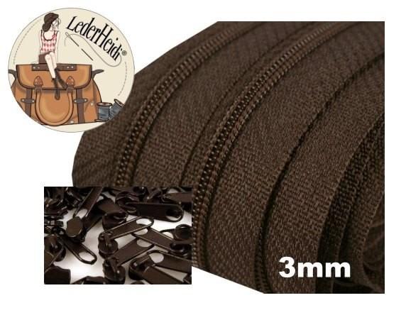 Endlos-Reissverschluss 3mm - dunkelbraun - inkl. 4 Zipper/Meter