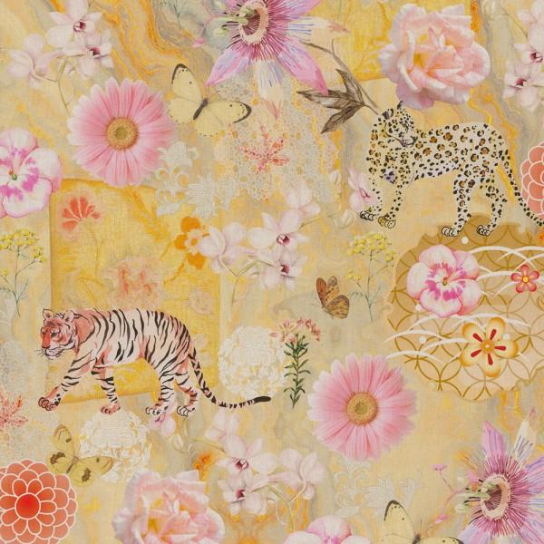 "Dekostoff ""Tiger & Flowers"" - 100% Baumwolle"