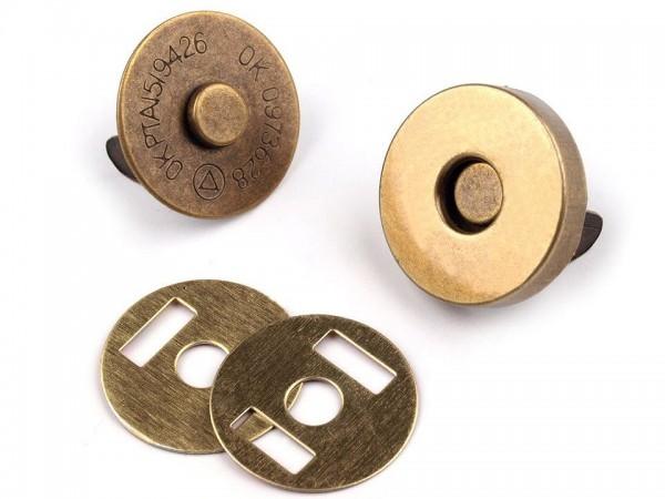 Magnetverschluss - 18mm - rund - altmessing (5 Sets)
