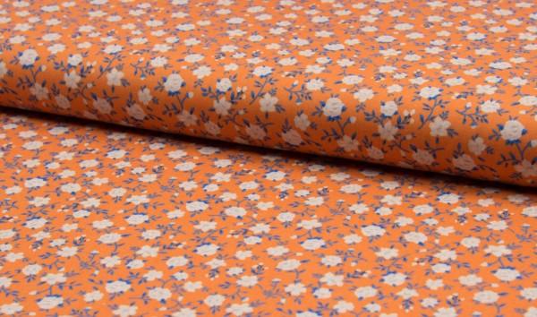 Baumwolle Popeline - Blümchen orange/weiß/blau