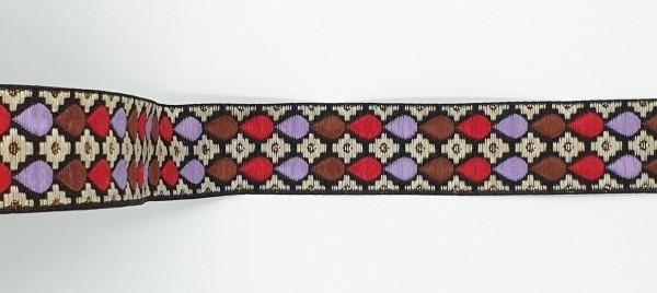 Jacquardband Tropfen - 25mm - braun/lavendel/rot