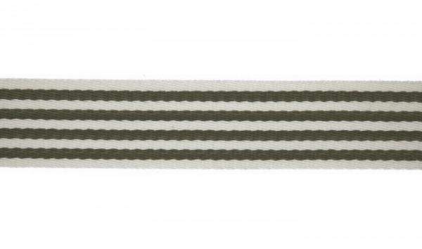 Baumwoll-Gurtband 40mm - schmale Streifen -weiss/oliv