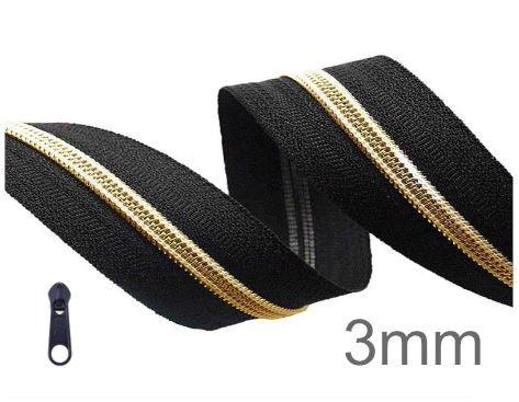 Endlos-Reissverschluss schwarz/gold - metallisiert - 3mm - inkl. 4 Zipper/Meter