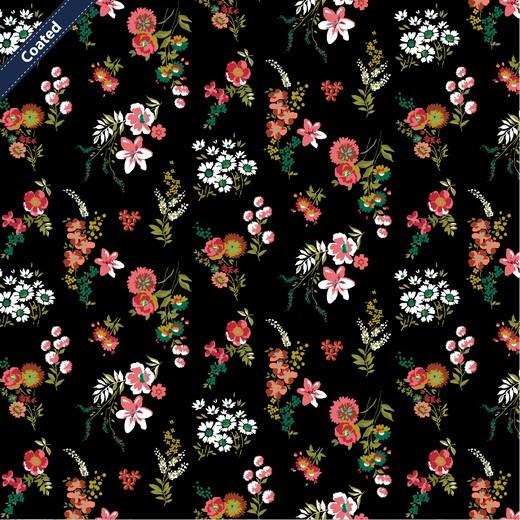 """Beschichtete Baumwolle - """"Flowery"""" - schwarz/bunt"""