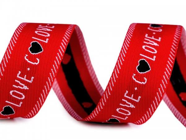 """Webband """"Love"""" - rot/weiss - 28 mm"""