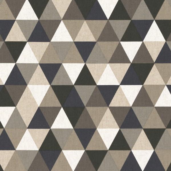 "Canvas Leinenlook - ""Dreiecke"" - schwarz/grau/dunkelblau"