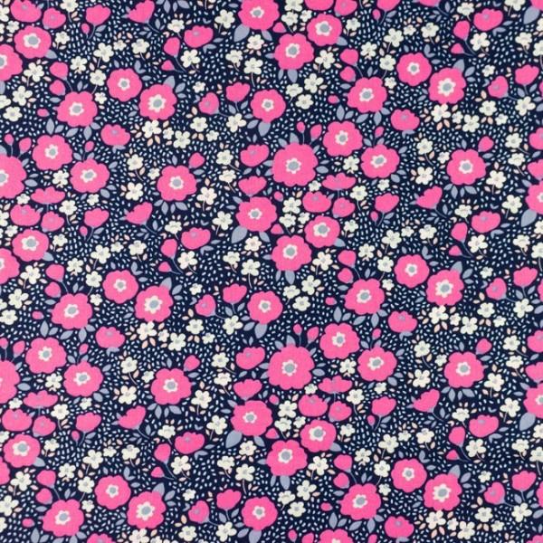 "Baumwoll Popeline ""Flowers pink/marine"""