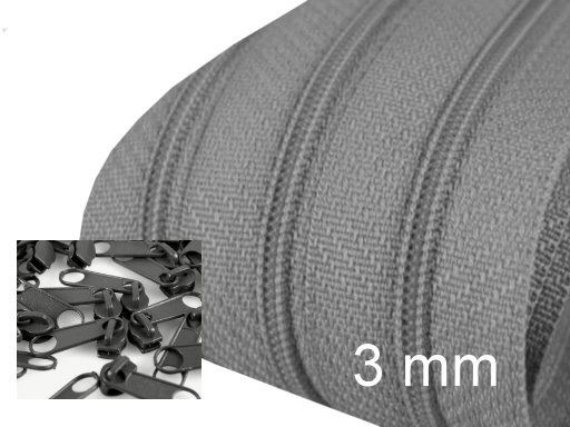 Endlos-Reissverschluss 3mm - stahlgrau - inkl. 4 Zipper/Meter