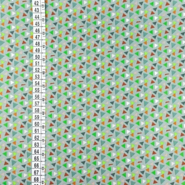 Baumwoll Popeline Mini-Dreiecke grau/grün
