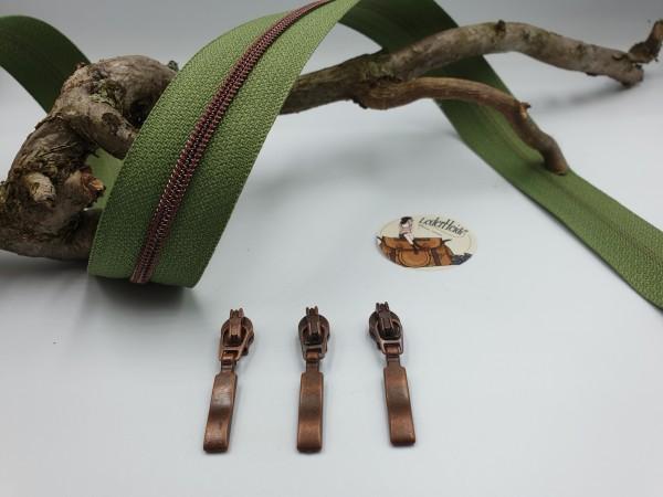 Metallisierter Reissverschluss 3 mm - olivgrün/kupfer antik inkl. 3 hochwertiger Schieber/Met