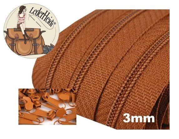 Endlos-Reissverschluss 3mm - braun - inkl. 4 Zipper/Meter