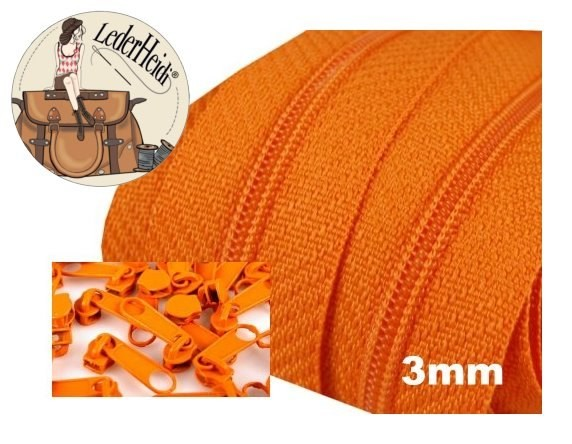 Endlos-Reissverschluss 3mm - orange - inkl. 4 Zipper/Meter